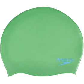 speedo Plain Moulded Silicone Cap Junior Fake Green/Windsor